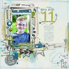 You are 11 such an adorable #boy #scrapbook page by BessySue at #designerdigitals love all the #layers #digiscrap #photoart #collageart