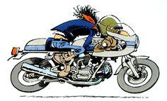 Bruno Brasletti - Joe Bar Team - on Ducati Moto Ducati, Ducati Cafe Racer, Cafe Racers, Motorcycle Humor, Motorcycle Posters, Bd Comics, Anime Comics, Bd Cool, Joe Bar