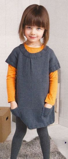the knit dress is cute. But is this a gorgeous little girl or what? Knitting For Kids, Crochet For Kids, Knitting Projects, Baby Knitting, Crochet Baby, Knit Crochet, Knitting Needles, Crochet Hooks, Baby Patterns