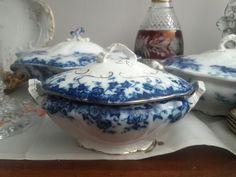 ANTIQE FANCY FLOW BLUE COVERED Sauce VERMONT BURGESS & LEIGH BURSLAM ENGLAND | Pottery & Glass, Pottery & China, China & Dinnerware | eBay!