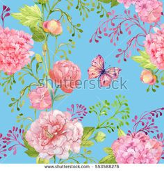 seamless pattern for fabric,Wallpaper. Watercolor peonies and pink flowers and butterfly on blue background