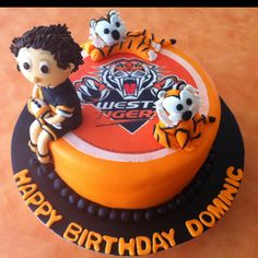 Butter cake filled with Buttercream icing and finished with fondant! Wests Tigers, Tiger Cake, Buttercream Icing, Cake Ideas, Fondant, Birthday Cake, Cakes, Cooking, Desserts