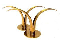 Pair Modernist Swedish Ystad-Metall Brass Designer 'Lily' Candlesticks 1930s-40s