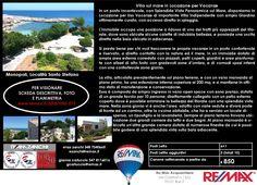 Monopoli (Bari) – Zona Santo Stefano Villa in Locazione per Vacanze (stagionale-mensile-settimanale) Importante villa con accesso diretto alla spiaggia www.remax.it/20031050-575 info 348 7340665