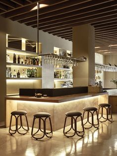 57 Fabulous Home Bar Designs You'll Go Crazy For. Decorating your ideal home bar design. Consider yourself lucky if you've got your own home bar – it's a perfect social gathering spot that's. Bar Interior Design, Restaurant Interior Design, Cafe Design, Küchen Design, Design Ideas, Bar Lounge, Cafe Bar, Bar Lighting, Lighting Design