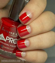 Red and gold nail art: two color colour design: hot red & golden accent lines, with nude half moons.