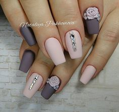 Beautiful autumn nails, Evening dress nails, Evening nails, Fall matte nails, Fall nail ideas, Fall nails 2016, Fall nails ideas, Fashion autumn nails
