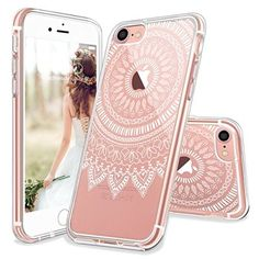 iPhone 7 Case, iPhone 7 Slim Case, MOSNOVO White Floral Henna Paisey Flower Clear Design Transparent Plastic with TPU Bumper Protective Back Cover for Apple iPhone 7 (4.7 Inch)