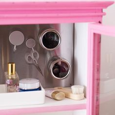 Magnetic spice rack. Adhere a sheet of metal to the back of your medicine cabinet (or paint with magnetic primer), and use magnetic spice racks to hold small items. Also a great way to keep track of scissors, tweezers, and other tiny metal objects. Homes & Gardens via House to Home.