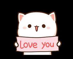 Cute Anime Cat, Cute Cartoon, Love You Gif, Gifs, Cat Stickers, Line Sticker, Cute Images, Loving U, Chibi
