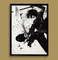 Sword Art Online SAO Kirito  Watercolor Print 8x10 by ColorInk, $20.00