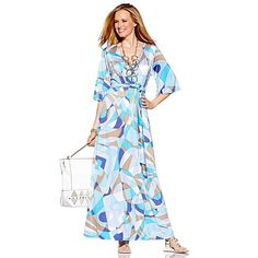 "Nikki Poulos ""Suki"" Surplice Printed Maxi Dress  Www.nikkipoulos.com http://www.hsn.com/products/nikki-poulos-suki-surplice-printed-maxi-dress/7099418"