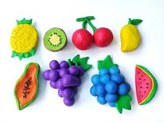 Delicious variety fruits made from plasticine clay on white background, colorful pineapple kiwi cherry mango papaya grapes blueberry watermelon shaped dough background Clay Crafts For Kids, Diy And Crafts, Arts And Crafts, Play Doh, Plasticine Clay, Fruits For Kids, Fruits Images, Fondant Flowers, Polymer Clay Miniatures