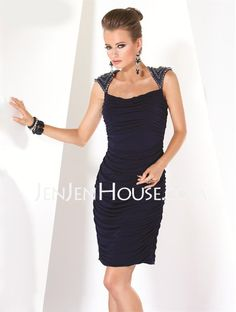 Mother of the Bride Dresses - $157.59 - Sheath Scoop Neck Knee-Length Chiffon  Charmeuse Mother of the Bride Dresses With Ruffle (008006295) http://jenjenhouse.com/Sheath-Scoop-Neck-Knee-length-Chiffon--Charmeuse-Mother-Of-The-Bride-Dresses-With-Ruffle-008006295-g6295