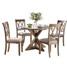 Byerly Pedestal 5 Piece Dining Set by Ophelia & Co. Wood Table Bases, Solid Wood Table Tops, Solid Wood Dining Set, 3 Piece Dining Set, Dining Room Sets, Counter Height Dining Sets, Pedestal Dining Table, Cross Back Dining Chairs, Breakfast Nook Dining Set