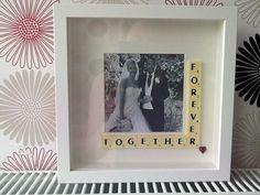 Customised photo frames using scrabble tiles x on Etsy, $30.51 AUD