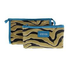 Kenneth Cole Reaction Womens Zebra Print 2PC Cosmetic Bags