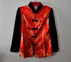 Vintage 1980s Red Silk Gold Dragon Black Velvet Mandarin by Skella, $45.00. In Vogue. Oriental Clothing.