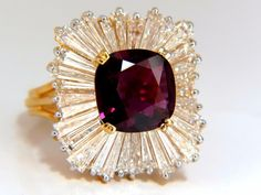GIA Certified 5.08ct. Natural Ruby Diamonds ring 18kt Ballerina Prime