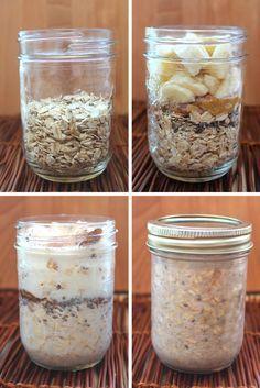Shake & Go Peanut Butter Banana Overnight Oat Jars #Vegan