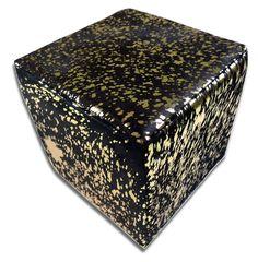 Metallic Cowhide Ottoman Gold Metallic on Black Cow hide Cube Furniture Cowhide Furniture, Cowhide Ottoman, Cube Furniture, Ottoman Footstool, Cow Hide Rug, Grey Rugs, Black Cow, Home And Garden, Metallic
