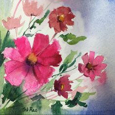 Hey, I found this really awesome Etsy listing at https://www.etsy.com/listing/217203755/pink-daisy-floral-original-watercolor