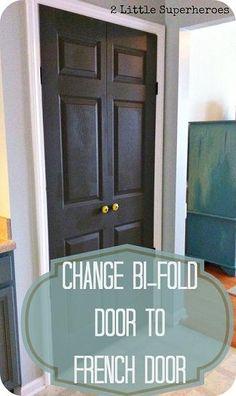 How To Change Bi-Fold Door To French Doors--keep white but switch closet doors to French door open style w clear mini door knobs