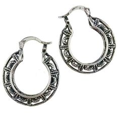Tibetan Vintage Silver Round Hoop Earrings #5