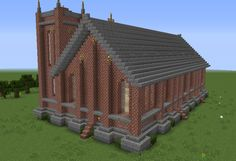 Unfurnished Small Victorian Church - GrabCraft - Your number one source for MineCraft buildings, blueprints, tips, ideas, floorplans! Minecraft Farm House, Minecraft Castle Blueprints, Minecraft City Buildings, Minecraft Plans, Minecraft Architecture, Cool Minecraft Houses, Minecraft Creations, Minecraft Projects, Minecraft Crafts