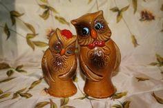 peppers, vintage, vintag style, vintag owl, salts, owl salt, owls, pepper shaker