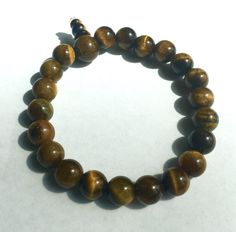 Natural Tiger Eye Bracelet, Men's Beaded Bracelet, Unisex Bracelet, Stretchy Beaded Bracelet, Men's Bracelet by AdornMixJewelry on Etsy