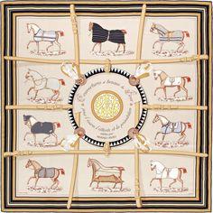 2015 S/S | Couvertures et Tenues de Jour | Giant scarf in silk twill plume, hand-rolled (140 x 140 cm) | Ref. : H431356S 08 Beige/Roux/Noir