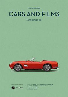 Ferris Buellers Day Off Auto Filmplakat, Kunstdruck Autos und Filme, Wohnkultur Drucke, Autodruck Arte Pink Floyd, Ferris Bueller, Film Home, Ferrari California, Pulp Fiction, The Big Lebowski, Car Illustration, Car Posters, Movie Poster Art