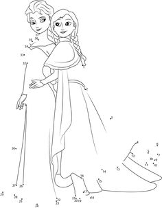 Download or print Frozen Sisters dot to dot printable worksheet from Cartoon-Movies,Frozen connect the dots category.