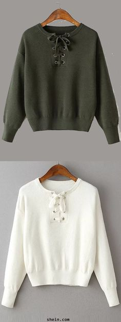 Cozy eyelet lace up knitwear. Thick material & beautiful color.
