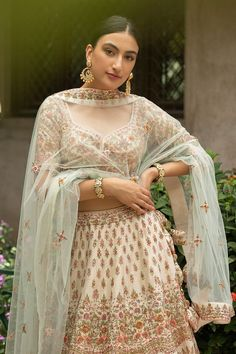 Buy Cream Raw Silk Bridal Lehenga Choli with Double Dupatta @ the best price from saree.com by asopalav Bridal Lehenga Choli, Special Occasion, Sari, Indian, Crop Tops, Skirts, How To Wear, Cream, Wedding
