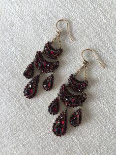 Antique Bohemian Garnet Earrings by bryan taylor on Etsy