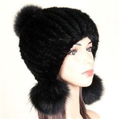 2016 Womens Knitted Mink Fur Hats with Earmuffs Ball Lady Real Fur Cap with Knitting Linner Winter Casual Fur Headwear LX00807