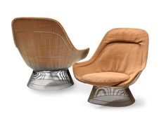"""Selkirk Auctioneers  Sale SL1007 Lot 186 Oct 22, 2016 10:00 AM CLUB CHAIRS BY WARREN PLATNER.  American, mid 20th century, metal. Polymorphic form with original upholstry and wired body. 39""""h. 41""""w. 38""""d.  Estimate $ 300-500"""