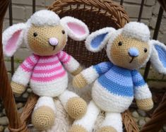 Spring Lamb Dolls, Amigurumi Crochet Pattern, Boy and Girl Sheep.