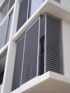 The Shade Shop is a premier Houston supplier of custom exterior shutters. Our years of expertise & wide selection of outdoor shutters will help you find what you need! Balcony Design, Window Shutters Exterior, Home Window Grill Design, Outdoor Shutters, Interior Window Shutters, Shutters Exterior, Door Design Interior, Balcony Grill, Balcony Railing Design