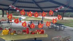 Fireman party happy birthday banner fire truck by ACraftCreation