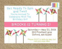 Pin Wheel Birthday Pinwheel Invitation Pinwheel by BellaInvitesXO