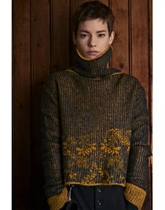 PROUST: Navy and mustard flock print mohair roll neck