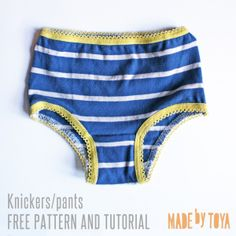 Thrifty knickers: a KCW upcycling project with pattern and tutorial – Made by Toya Toddler Fashion, Toddler Outfits, Kids Outfits, Sewing Patterns For Kids, Sewing For Kids, Sewing Ideas, Clothes Patterns, Shirt Patterns, Easy Patterns