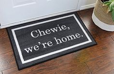 Star Wars novelty door mat is approximately 22 inches by 32 inches. Chewie We're Home! The Chewie We're Home novelty doormat welcomes all Star Wars fans. Chewie We're Home doormat is perfect for front entrances, bathrooms, kitchens, and dorm rooms. Decoration Star Wars, Star Wars Decor, Cute Dorm Rooms, Cool Rooms, Robins, Home Design, Design Ideas, Citations Star Wars, Casa Disney
