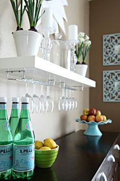 Bar with shelf.  Perfect for above my buffet table in the formal dining room.