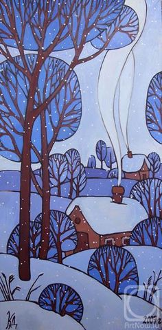 Winter Landscape Art For Kids Ideas Winter Landscape, Landscape Art, Art And Illustration, Winter Art Projects, Winter Painting, Blue Painting, Naive Art, Art Club, Art Plastique