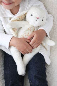 Lovely cuddles with this cute soft bunny rabbit plushy. Not just for the little ones, I'm sure. Softies, Plushies, Some Bunny Loves You, Bunny Toys, Cuddles, Bunny Rabbit, Handmade Toys, Easter Bunny, Little Ones