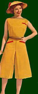 Montgomery Ward's 1961 Pop top. All cotton sheen gabardine. Back button close. Culotte of all cotton sheen gabardine. 2 pockets.